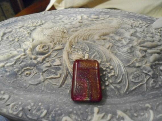 Raspberry Sparkle Glitter Dichroic Glass Pendant S