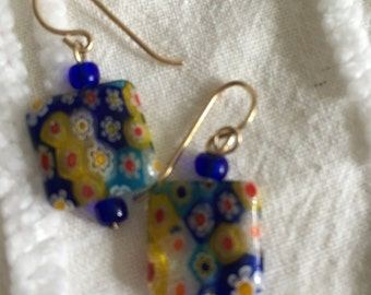 Vintage Handmade Colorful Millefiori Square Dangly Earrings in Excellent Condition