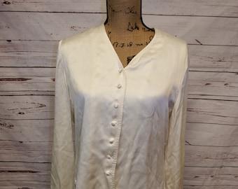 e785fa733e756 beige silk blouse - silk blouse - silk blouse women - silk blouse long  sleeve - silk blouse vintage - vintage 80s