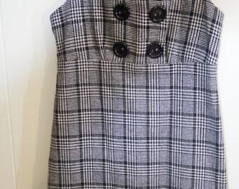 shift dress - school girl dress  - houndtooth dress - dress vintage - cute dress - sleeveless dress