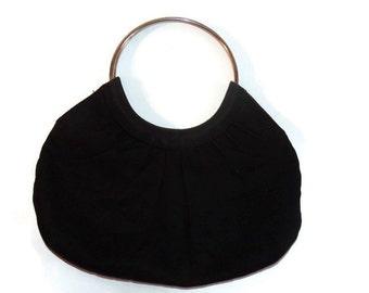 vintage handbags - boho handbag - fabric handbag -black purse -  70s handbag - handbag vintage