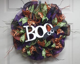 Halloween Mesh Wreath, Halloween Wreath, Fall Mesh Wreath, Bat Wreath, Boo Sign, Halloween Decor, Halloween Wall Hanging