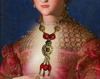 "Long necklace orientalist woman necklace, Murano glass beads, antique necklace, ""FLORENTINE"""