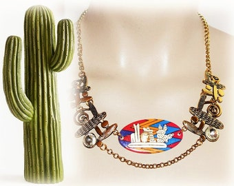 ethnic necklace, desert, Mexican - in the middle of the CACTUS