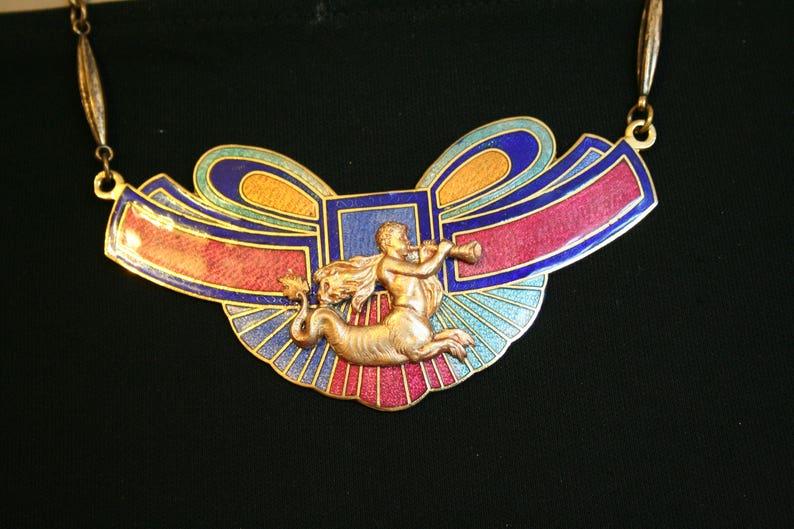 Necklace Centaur, mythological necklace, ancient, mythological antique bib  necklace - CENTAUR trumpet