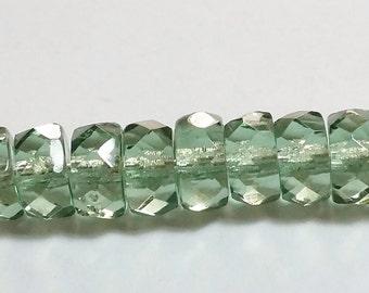 20pcs Light Green Czech Beads - Rondelle Beads - Glass Beads - Light Green Faceted Spacers 3x6mm - GB181