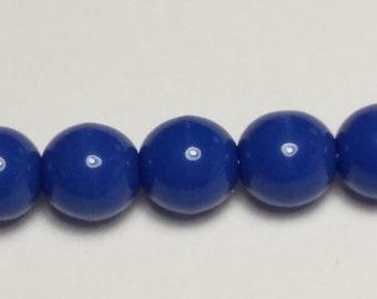 30pcs Cobalt Blue Czech Beads - 6mm Beads - Czech Glass Beads - Round Opaque Beads - Jewelry Supplies - GB313