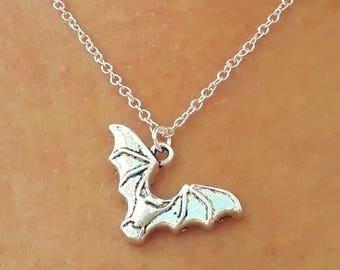 Bat Necklace - Silver Bat Necklace - Gothic Necklace - Animal Necklace - Goth Jewelry - Bat Jewelry - 2 Sizes Available