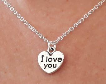 I Love You Necklace - Heart Necklace - Charm Necklace - I Love You Jewelry - I Love You Gifts - Silver Heart Necklace - 2 Sizes Available