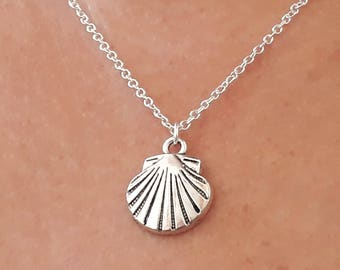 Shell Necklace - Charm Necklace - Seashell Necklace - Boho Necklace - Chain Necklace - Silver Shell Necklace - 2 Sizes Available