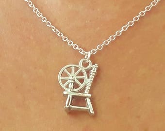 Spinning Wheel Necklace - Spinning Wheel Jewelry - Fantasy Fairytale Jewelry - Silver Charm Necklace - Rumplestiltskin - 2 Sizes Available