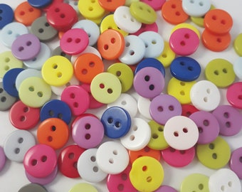 B19347 50pcs Black Plastic Small Sewing Buttons 2-Hole 6mm Craft Supplies