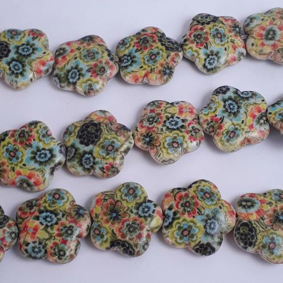 20pcs Bohemian Bright Howlite Stone Disc Beads, Grade D B18152 12mm