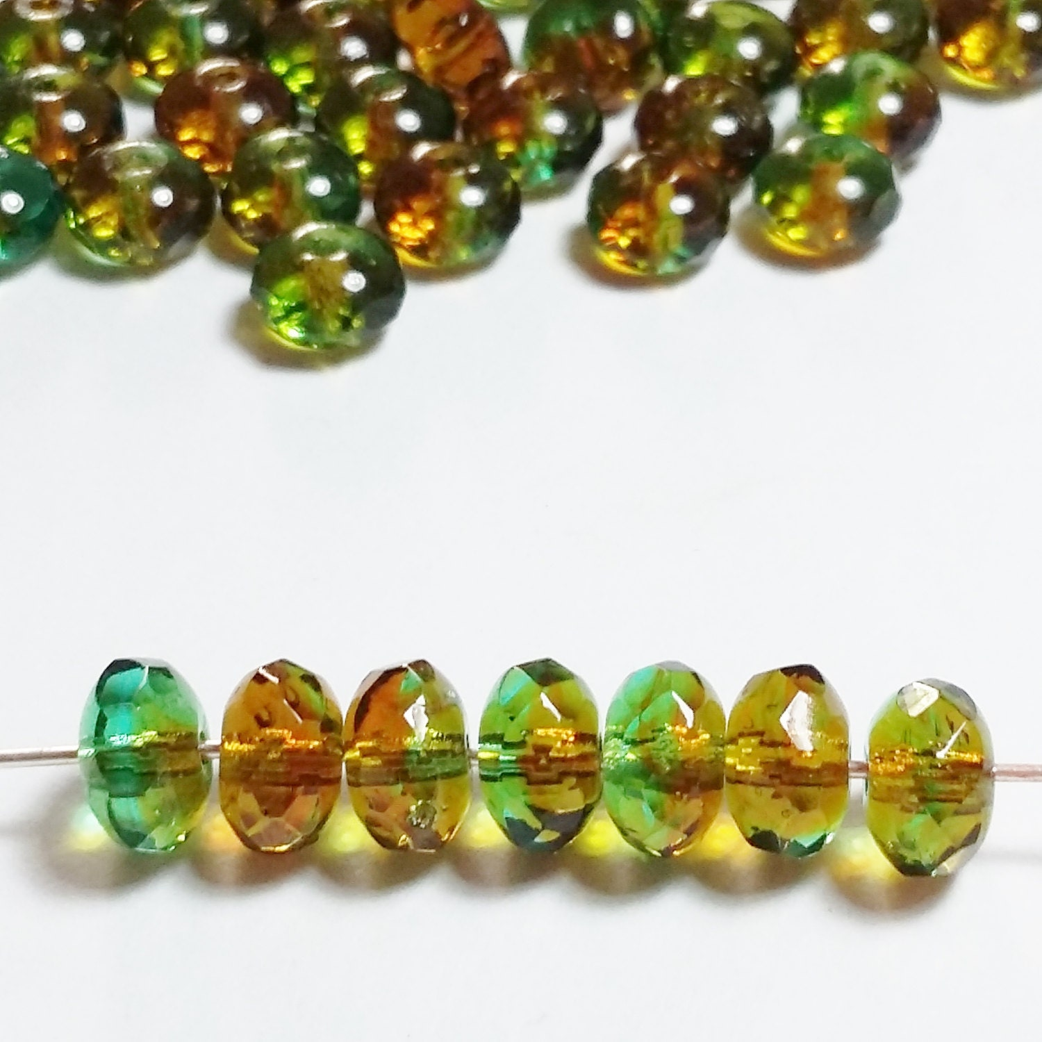 GB240 Green /& Pink Czech Glass Faceted Rondelle Beads 4x7mm 20pcs Blue