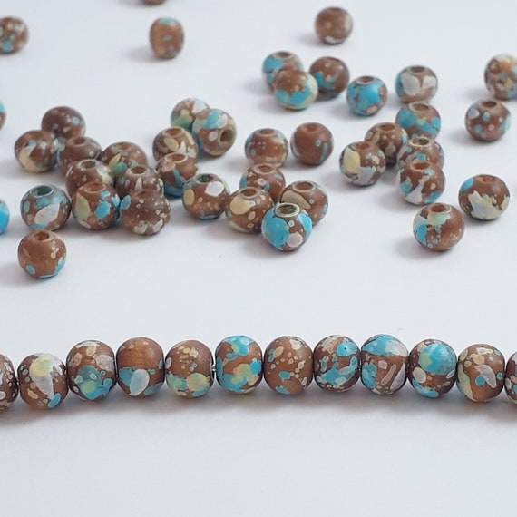 100pcs Wooden Dyed Brown Round Beads 8mm Bohemian Wood Spacers B72035