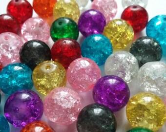 100pcs Assorted Beads - Crackle Beads - Glass Beads - Beads Bulk - Loose Beads - 10mm Beads - B05648