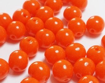 30pcs Bright Orange Czech Beads - 6mm Beads - Czech Glass Beads - Round Opaque Beads - Jewelry Supplies - GB317