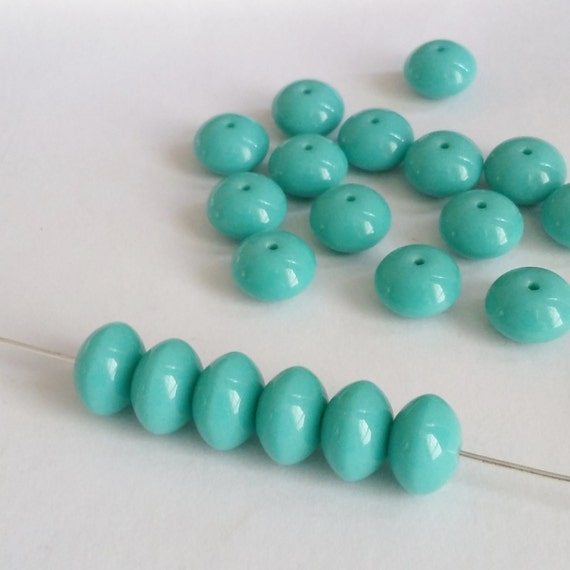 40pcs Turquoise /& Cream Czech Glass Rondelle Beads 3x5mm Small Spacers GB398