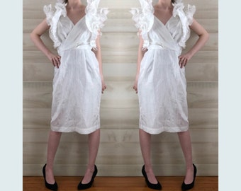 b55ed20bb0 Vintage 80s white ruffled cocktail dress huge sleeves party glam S