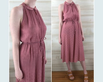 cc545ca27358 Vintage 90s dusty rose pink gauze crochet collar tunic dress boho hippie S M