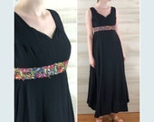 Vintage 60s black empire colorful embroidered long maxi hippie boho dress S