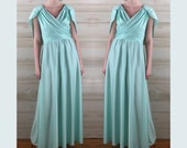 Vintage 70s mint green draped goddess gown disco party dress S M