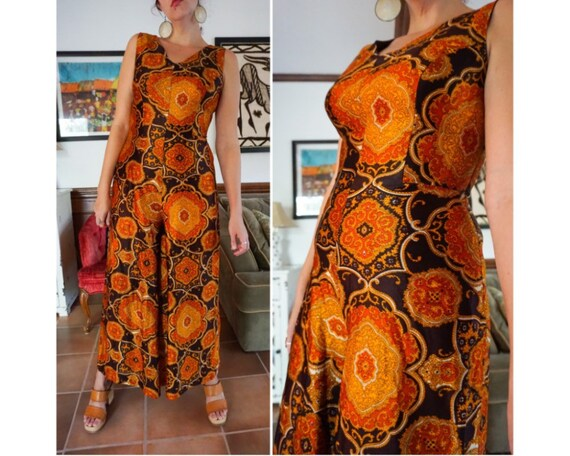 Vintage 60s Vibrant Paisley Orange Brown Wide Leg