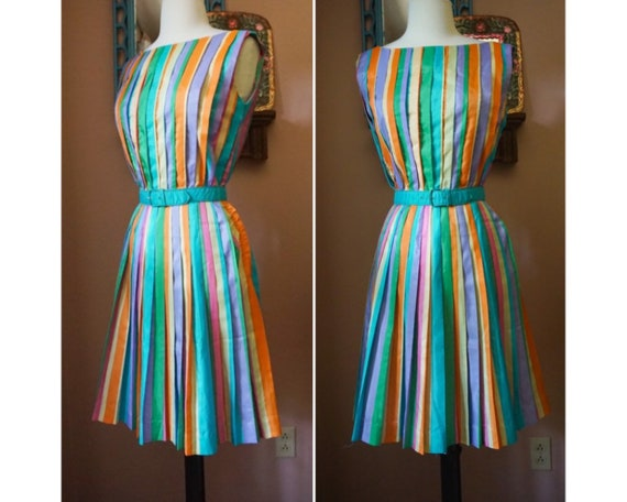 Vintage 50s Jerry Gilden Rainbow Pleated Colorful