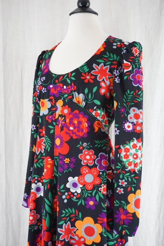 Vintage 60s Colorful Dark Floral Hippie Boho Long… - image 3
