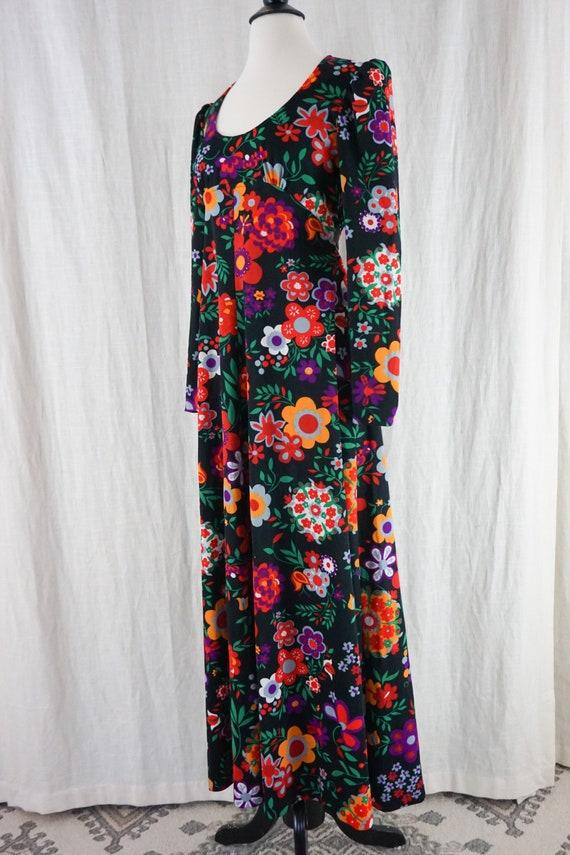 Vintage 60s Colorful Dark Floral Hippie Boho Long… - image 5