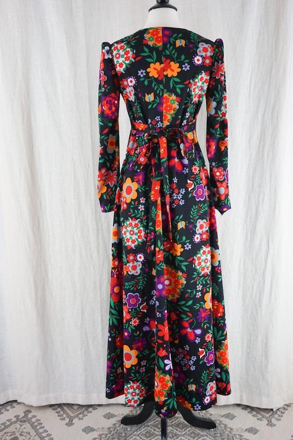 Vintage 60s Colorful Dark Floral Hippie Boho Long… - image 7