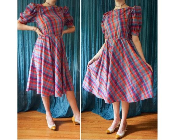 Vintage 80s Rainbow Plaid Puff Sleeve Full Skirt C