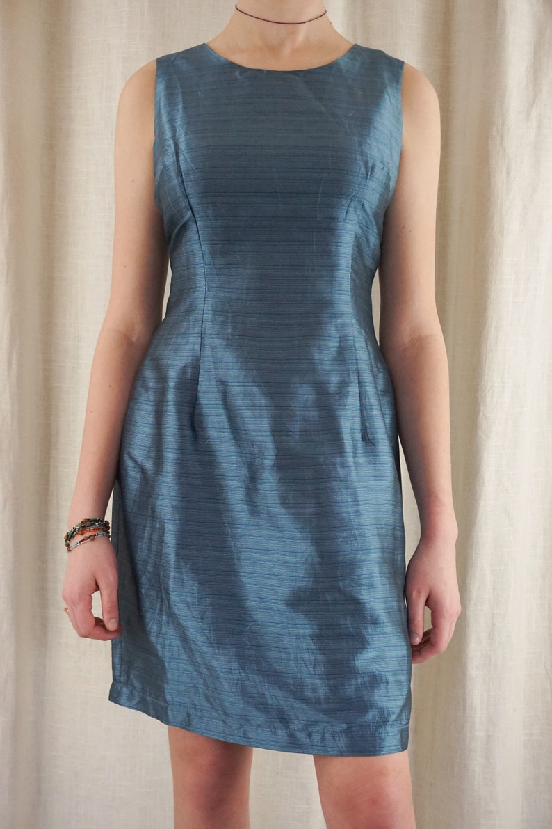 Vintage 90s Mary McFadden Blue Silk Sheath Dress Minimalist simple Classic M L