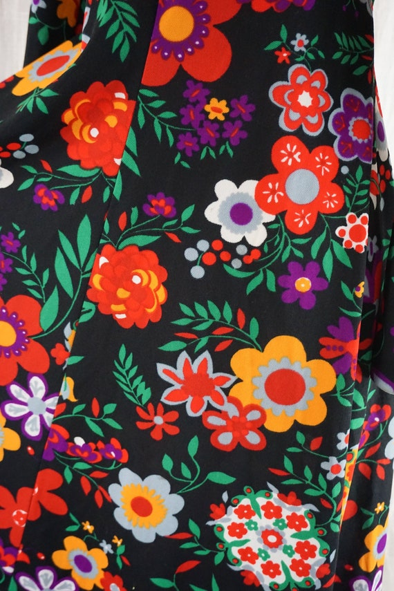 Vintage 60s Colorful Dark Floral Hippie Boho Long… - image 2