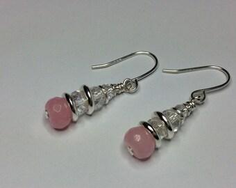 Genuine Amethyst/Rose Quartz & Crystal Gemstone Drop Earrings, Design Inspired by the Links of London Sweetie Bracelet Buy1Get1Free