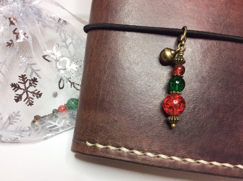 Bell /& Snowflake Charm in Gold Silver Bronze Christmas Charm with Deep Red Clasp Green and Clear Hand faceted crystal; Mini Keyring