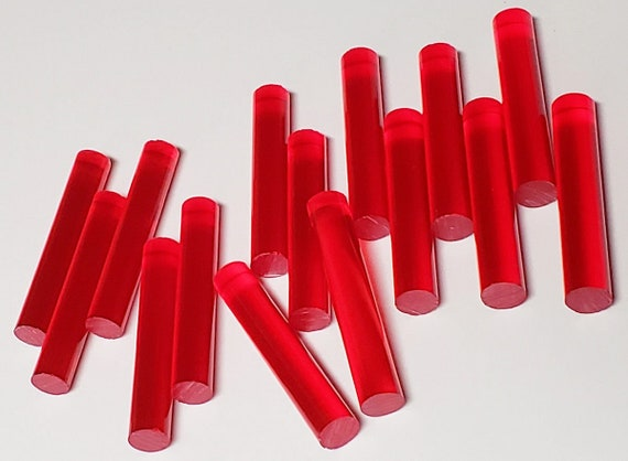 """5 PC 5//8"""" DIAMETER 12"""" INCH LONG CLEAR RED ACRYLIC PLEXIGLASS LUCITE COLORED ROD"""