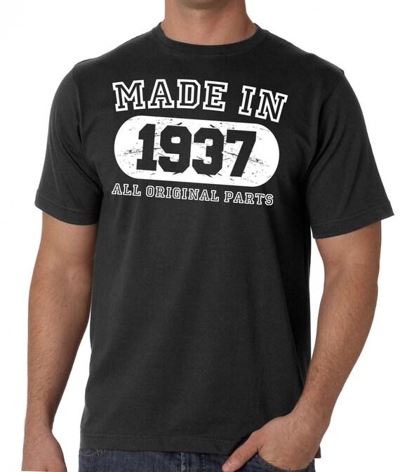 80e anniversaire Mens 1937 T-shirt cadeau Made In 1937 Mens toutes les pièces d'origine - comédie des hommes t-shirt 1c9f56