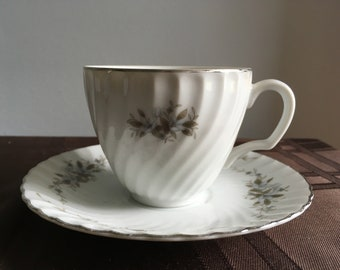 Vintage Tea Cup and Saucer in Alyce pattern by Royal Hostess China (Retired)