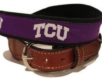 Texas Christian University TCU Men s Web Leather Belt 4136544ff90