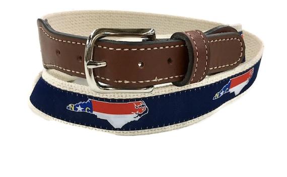 Coastal Nautical Flag ribbon on Cotton Web Leather Belt