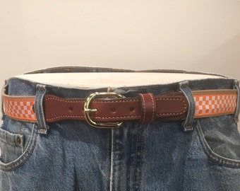 University of Tennessee  Checkerboard men's Web Leather Belt