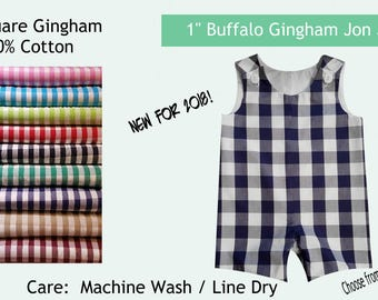 "Jon Jon Buffalo Gingham 1"" Gingham Your Choice of Lt Pink Lt Blue Hot Pink Turqouise Lime Red Navy Black Brittish Tan Kelly Green or Crimson"