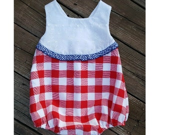 Patriotic Bubble of Buffalo Gingham and Eyelet Trimmed in Royal Picot Gingham Trim