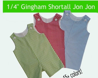 "Jon Jon 1/4"" Gingham  Check Shortall  Embroidery Blank Jon Jon Pick form 11 different color choices"