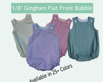 "Flat Front Gingham Baby Bubble Embroidery Blank MTO 1/8"" Gingham Choose from 25+ Colors"