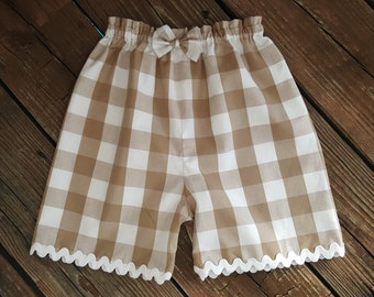 "Shorts 1"" gingham Buffalo Gingham Lined Girls Shorts with Gingham Trim"
