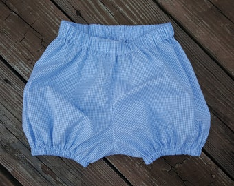 "Bubble Shorts with Elastic Leg Gingham Shorts Many Colors Embroidery Blank UnLined Elasticized Waist Small 1/16"" Gingham MTO  SB00SEB"