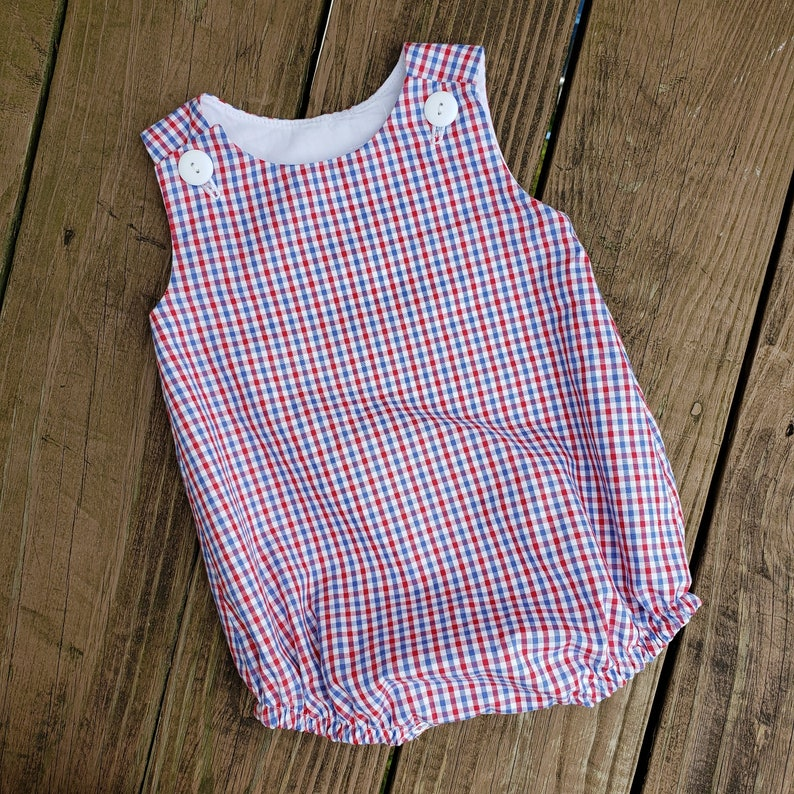 Bubble Flat Front Red Blue Tattersall Americana 4th of July image 0