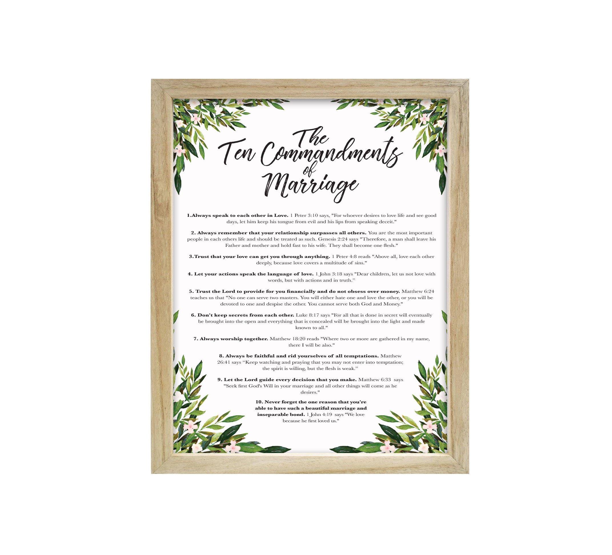 The Ten Commandments of Marriage Digital Print